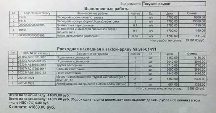 стоимость работ по ремонту редуктора переднего моста мерседес